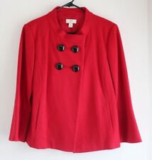 Ann Taylor Loft Red Wool Coat Cardigan Light Jacket Cropped Flared Size Medium M