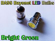 2x 1.5W Bayonet BA9S 1895 T4W SMD Green Power LED Lamp - Parker Signal Stop Bulb