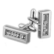 Gemelli in argento con cristallo per uomo