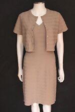 Alaia Dusky Beige Chevron Stretch Knit Dress with Matching Top  F40 uk 10 -12