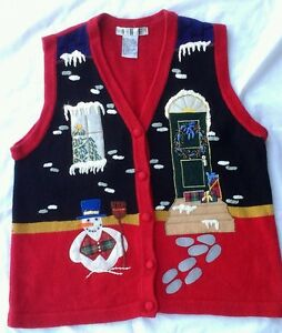 Christmas Ugly Snowman OHI  House  scene Red Button Sweater Vest Size XL