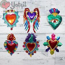 New ListingMexican Milagros Charms Folk Art Sacred Heart Tin Ornaments Set Of 6 Pcs Pack31