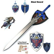 Dulled Legend of Zelda Ocarina of Time Master Sword and Shield Cosplay Gift Set
