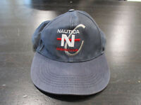VINTAGE Nautica Competition Strap Back Hat Cap Navy Blue Red Spell Out Mens 90s