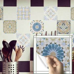20 Pcs 3D Vintage Transfer Self-adhesive Deco Bathroom Kitchen Wall Tile Sticker