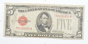 Uncommon 1928-C $5 Red Seal US Note - RARE Note *343