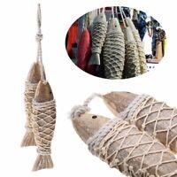 2Pcs Wooden Hanging Fish Coastal Village Handicrafts Nautical Home Wall Decor-AU