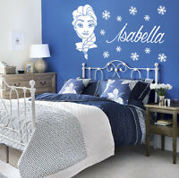 ELSA FROZEN style Wall sticker decal With personalised name & snowflakes K17