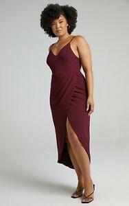 Showpo Dress 14 Lucky Day Dress Wine Midi Length Draping Curvey Plus Size
