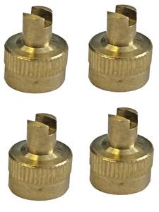Brass Schrader Metallic Valve Dust Cap Tool Pack of 4 Caps