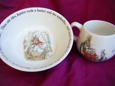 Wedgwood Beatrice Potter Children's Bowl/ 2 Handled Cup Peter Rabbit Nursery Set