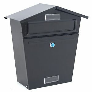 External Wall Mounted Letter Post Mail Box Large Letterbox Mailbox Outdoor Black