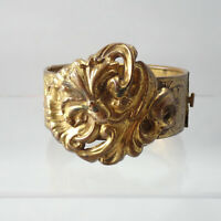 "Antique Victorian Ornate Repousse Floral 7 1/4"" Hinged Brass Bangle Bracelet"