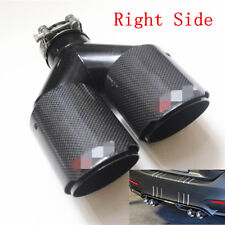 Right-63-89mm Autos Dual Pipe Exhaust Tail Throat Muffler Tip Real Carbon Fiber