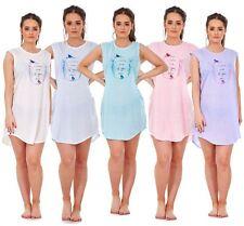 Ladies Nightwear Crew Neck Spotted Bird Print Sleeveless Jersey Nightie M to XXL