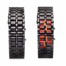 Black Digital Lava Wrist Watch Iron Metal Red LED Metal Samurai Mens Boys L01