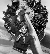 8x10 Print Amelia Earhart Poses with Aircraft Propeller 1936 #AE112