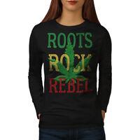 Wellcoda Rasta Canabis 420 Womens Long Sleeve T-shirt, Weed Casual Design