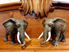 PAIR RESIN ELEPHANT FIGURINES STATUE SCULPTURE ORNAMENT