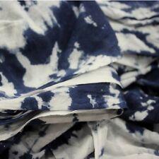 Indian Hand-Dyed Shibori Soft 100% Cotton Fabric Indigo Blue Bandhani 5 Yard H2D