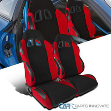 New T-R Type JDM Black Red Cloth PVC Reclinable Racing Bucket Seats Pair