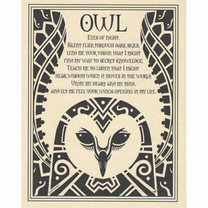 """Owl Prayer Poster 8.5 x 11"""" Parchment Print NEW Book of Shadows Page"""