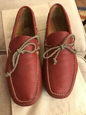 CAR SHOE men shoes RED Leather tie front driving loafer Size 7
