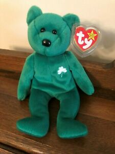 Erin St. Patrick's Day Beanie Baby Bear Green with Shamrock 1997 Retired Irish