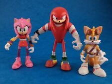 """Toy Figures-Sonic the Hedgehog-Tails Knuckles Amy/Tomy Sega environ 3"""" Difficile à trouver"""