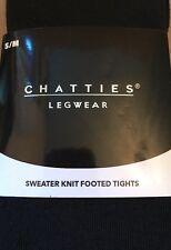 Chatties Legwear Sweater Knit Footed Tights S/M Black