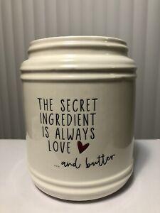 """New Farmhouse Rae Dunn Inspired WHITE UTENSIL CROCK Holder Ceramic Container 8"""""""