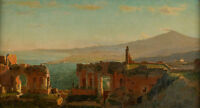 """Landscape Oil painting Mt. Aetna from Taormina by William Stanley Haseltine 36"""""""