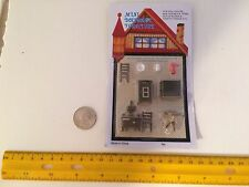 1/48 MINIATURE VINTAGE KITCHEN SET WOOD-BURNING STOVE ICE BOX + MORE DOLLHOUSE