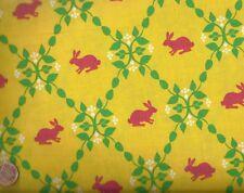Modern Whimsey yellow pink bunny rabbit animals Kaufman fabric