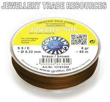 BROWN SILK STRING THREAD 0.33mm FOR STRINGING PEARLS & BEADS GRIFFIN SIZE 5/E