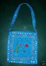 Turquoise embroidered mini-handbag with beads & sequins