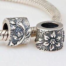 Lilie Blume gemustert Charme Perlen 925 Sterling Silber