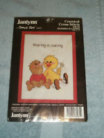 "New Janlynn Suzy's Zoo Sharing is Caring Cross Stitch Kit 5"" x 7"" Vintage 1984"