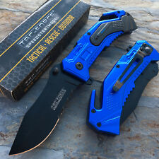Tac Force Blue Navy Outdoor Camping Rescue Knife Survival Pocket Knife New