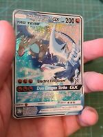 Blue Eyes w. Dragon and Charizard Glurak Pokemon GX Tag Team Custom Card In Holo