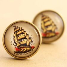 Sailor Jerry Ship Cufflinks, Nautical Pirate Rockabilly Tattoo Handmade Pinup