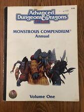 RARE & VG+! MONSTROUS COMPENDIUM ANNUAL Volume 1 1994  AD&D 2nd Edition 2145
