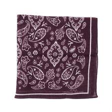 New ISAIA Plum Bandana Print Lightweight Cotton Handkerchief / Pocket Square