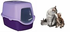 TRIXIE HOODED CAT  LITTER TRAY LOO LESS MESS TOILET 40 X 40 X 56 CM PURPLE LILAC