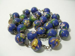 "Vintage 27"" Chinese Cobalt Blue Cloisonne Bead Necklace Silver Chain Links Clasp"