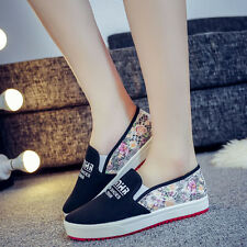 Women's Flat Comfy Canvas Shoes Pull On Flowers Print Sneakers US7.5/EUR38