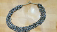 Vintage Bronzy Seed Beed Multi Strand Beaded Woven Statement Necklace 25""