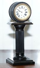 19TH CENTURY MANTLE CLOCK WITH PEDESTAL COLUMN BASE HAND PAINTED PORCELAIN DIAL