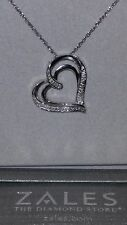 ZALES Jewelers Sterling Silver Heart Shaped Diamond Necklace (18 Inch) SRP $100