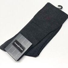 Mens Long Grey Socks UK 7-8 Ermenegildo Zegna Red Logo Knee Length Fine Cotton